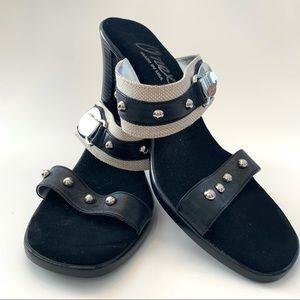 Onex slide shoes heel black tan silver size 10